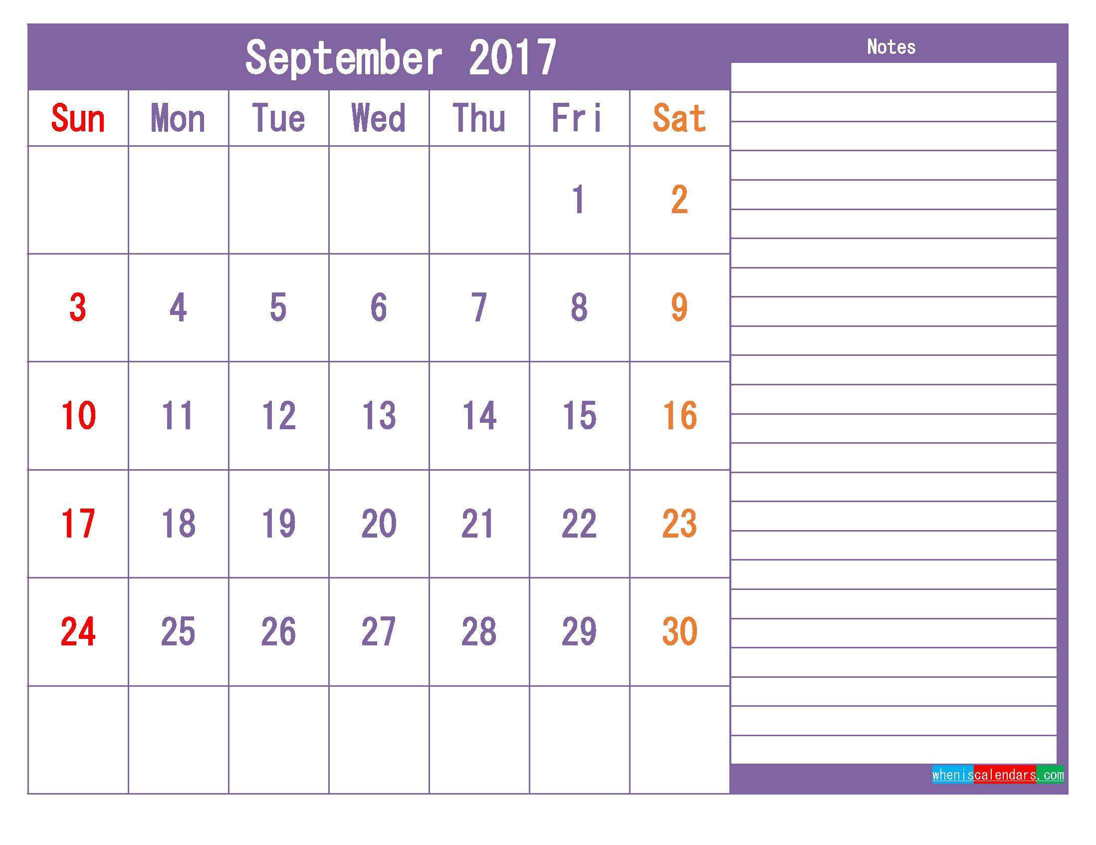 September 2017 Printable Calendar Template as PDF and PNG