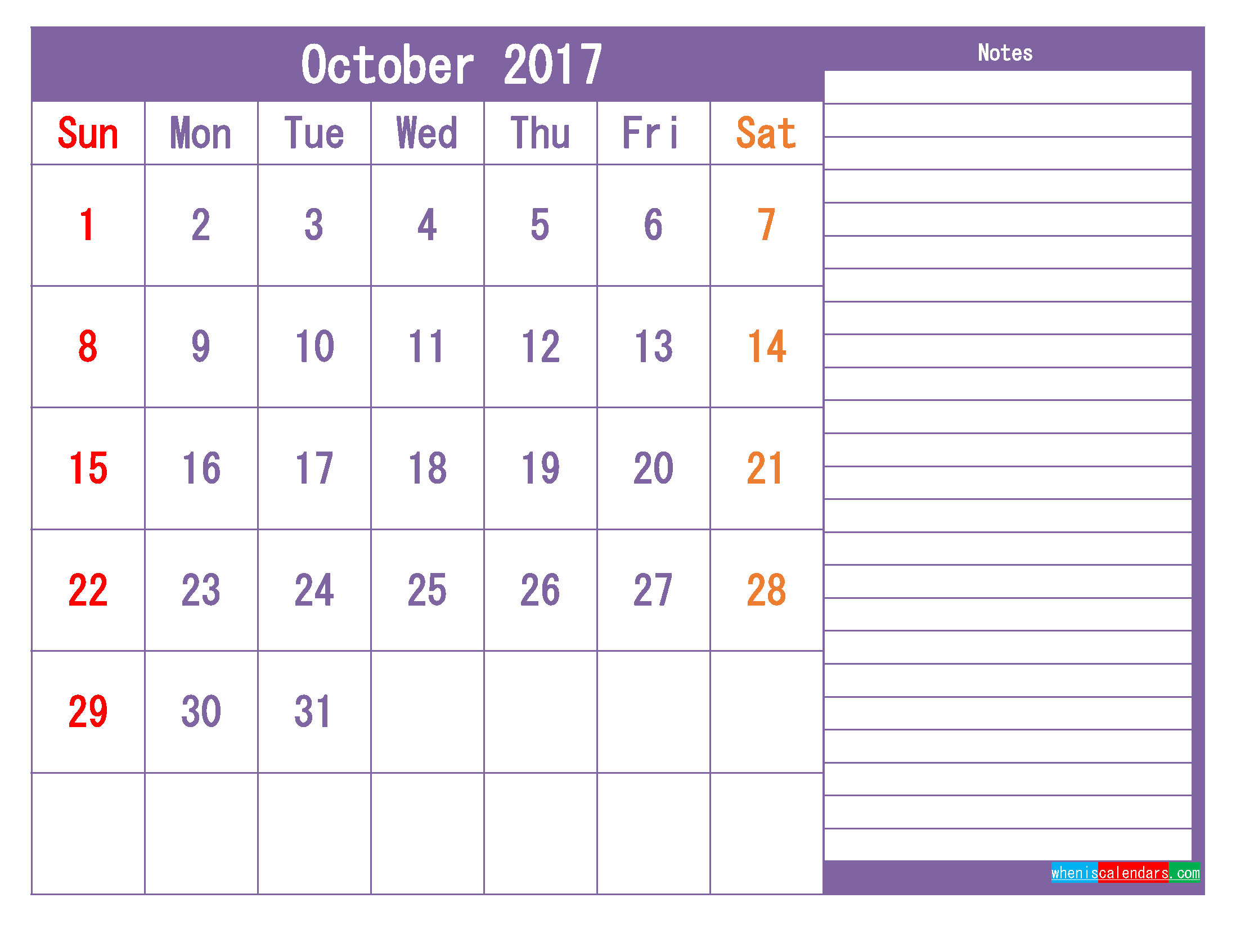 October 2017 Printable Calendar Template as PDF and PNG