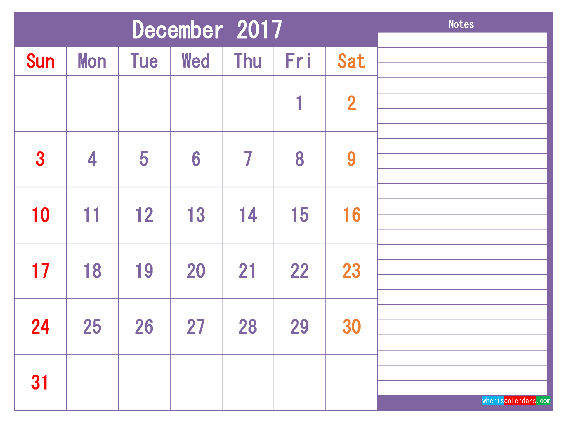 December 2017 Printable Calendar Template as PDF and PNG