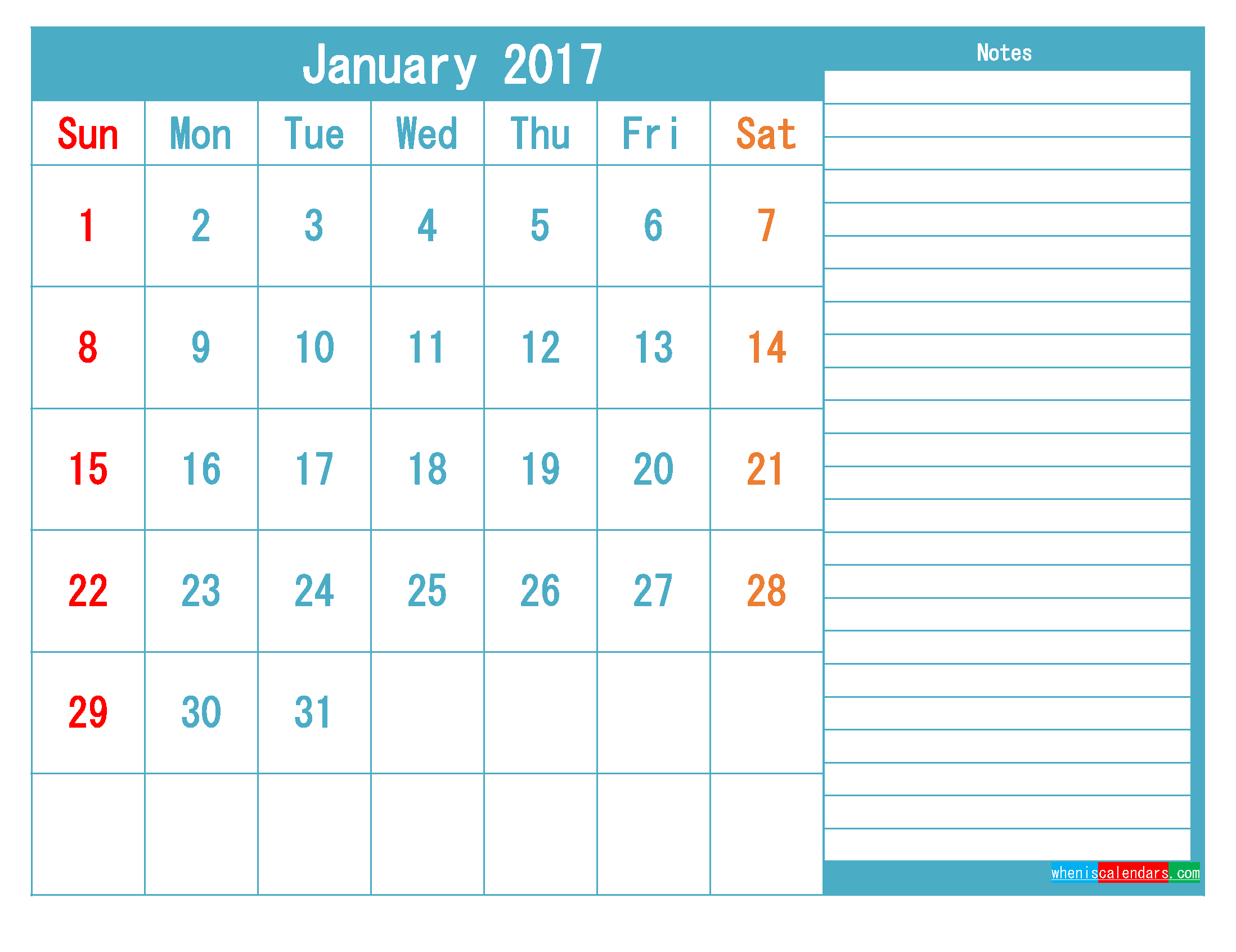 January 2017 Printable Calendar Templates PDF and Image