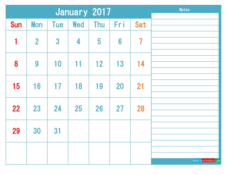 January 2017 Printable Calendar Templates PDF and Image