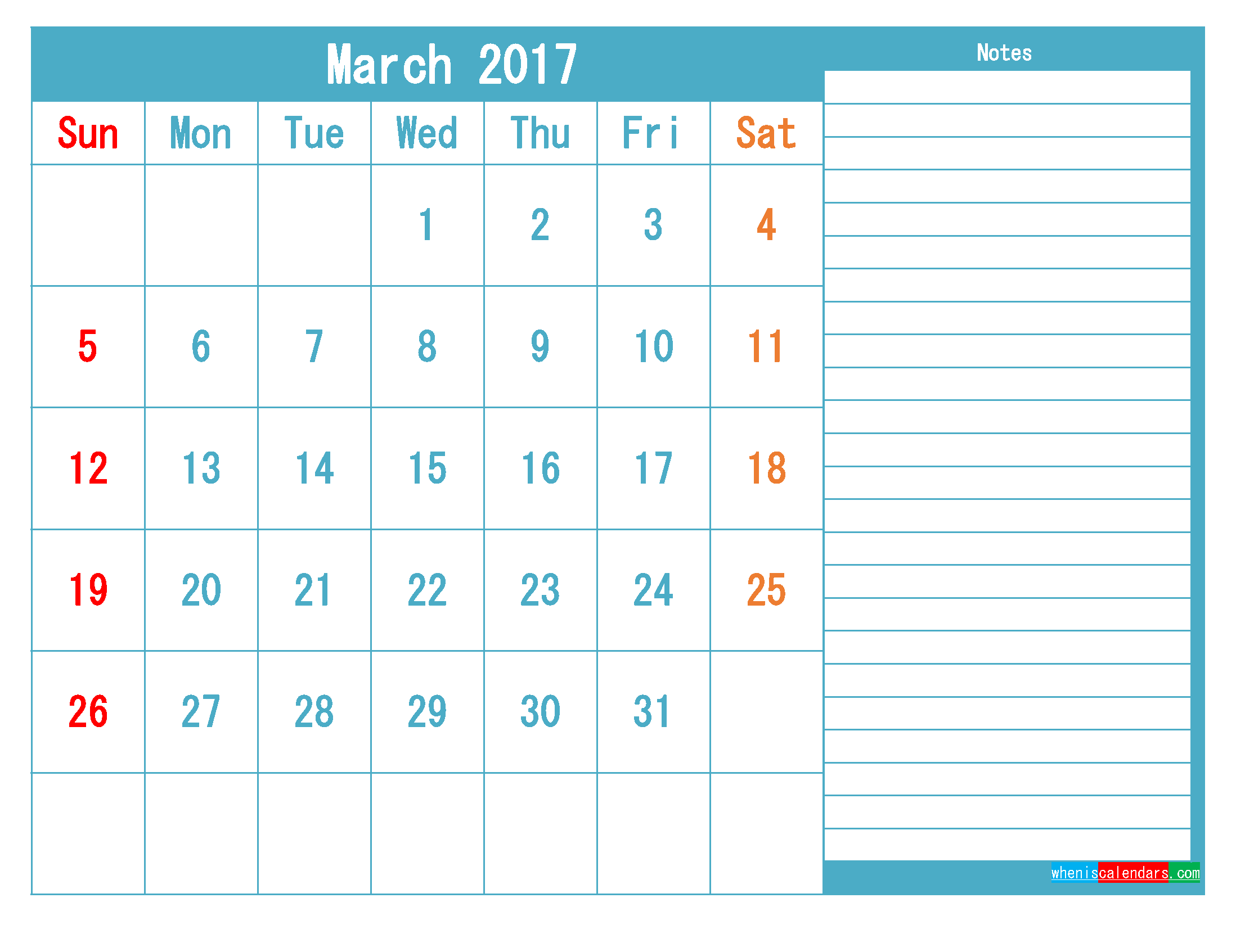 March 2017 Printable Calendar Templates PDF and Image