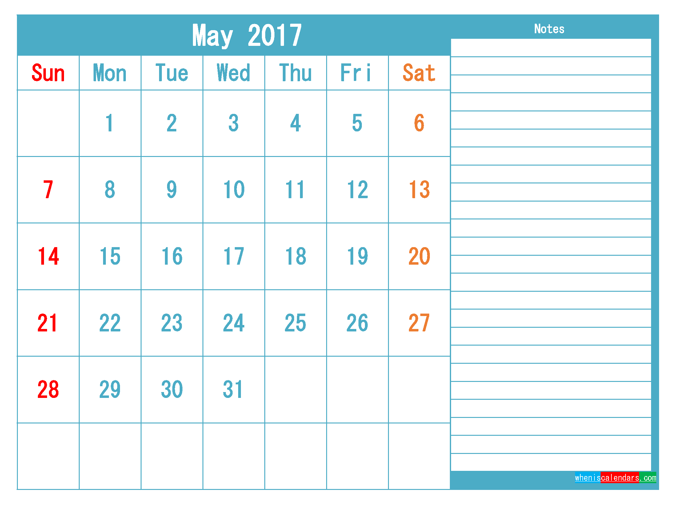 May 2017 Printable Calendar Templates PDF and Image