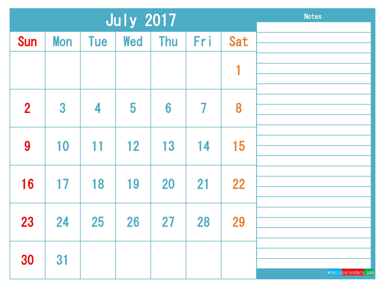 July 2017 Printable Calendar Templates PDF and Image