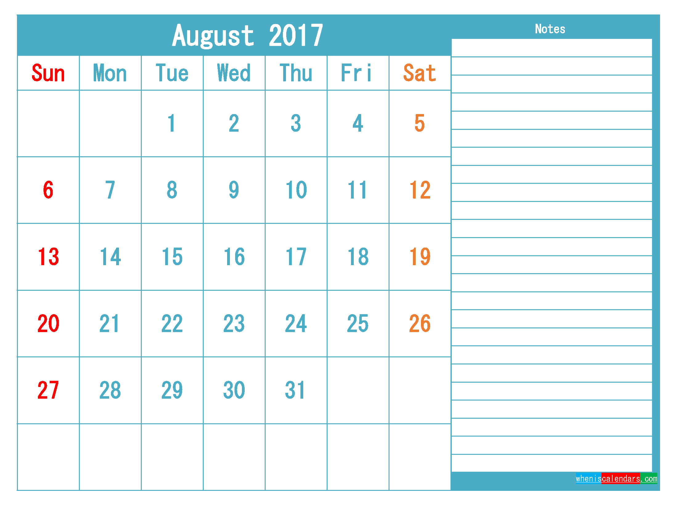 August 2017 Printable Calendar Templates PDF and Image