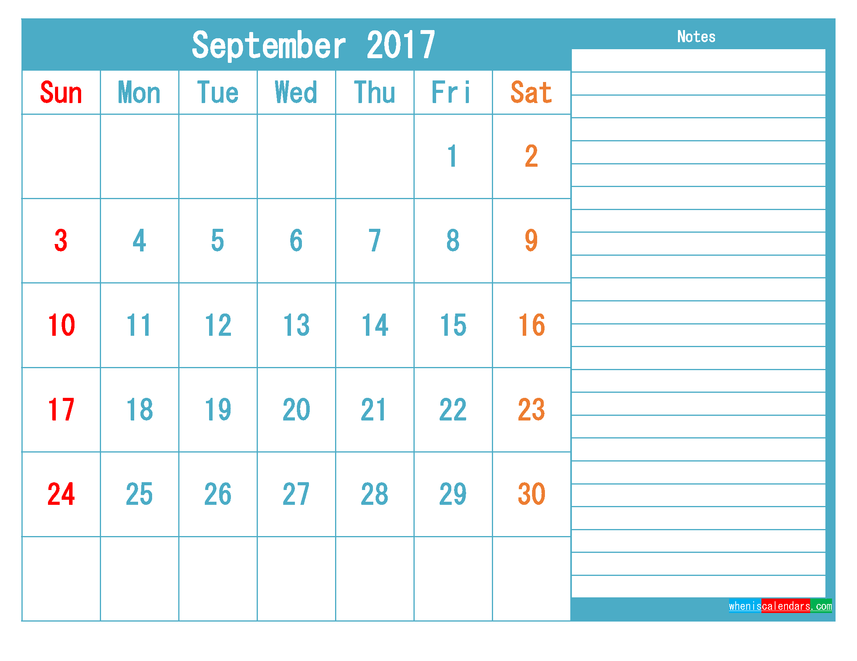 September 2017 Printable Calendar Templates PDF and Image
