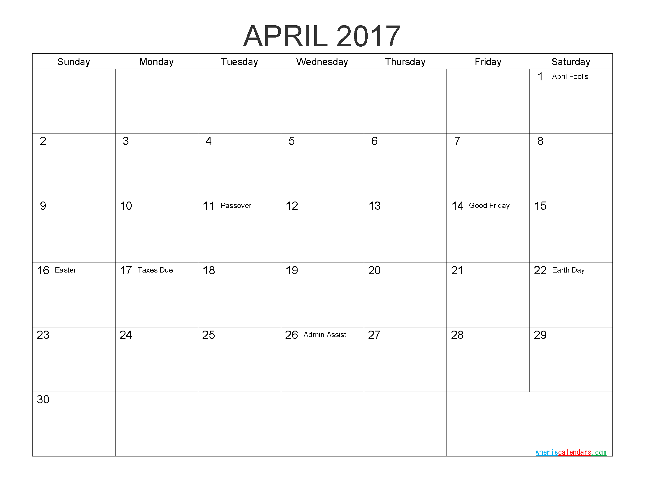 Download Free Calendar April 2017 Printable Calendar with Holidays as PDF and Image