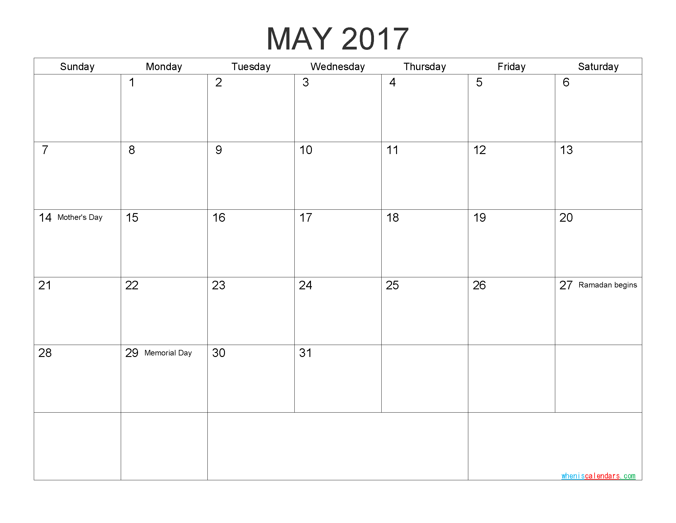 Download Free Calendar May 2017 Printable Calendar with Holidays as PDF and Image
