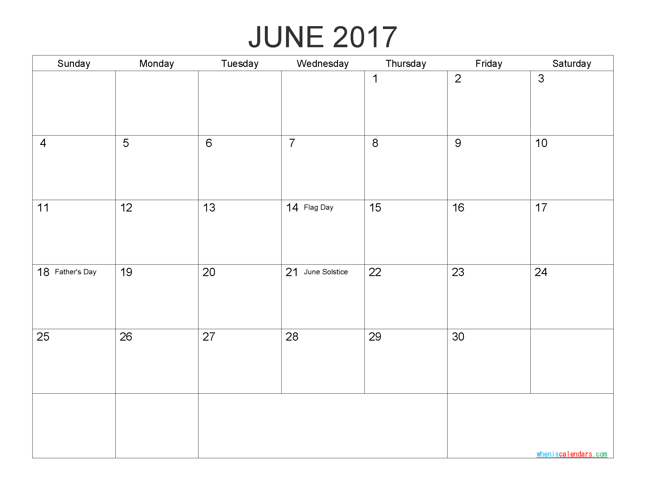 Download Free Calendar June 2017 Printable Calendar with Holidays as PDF and Image