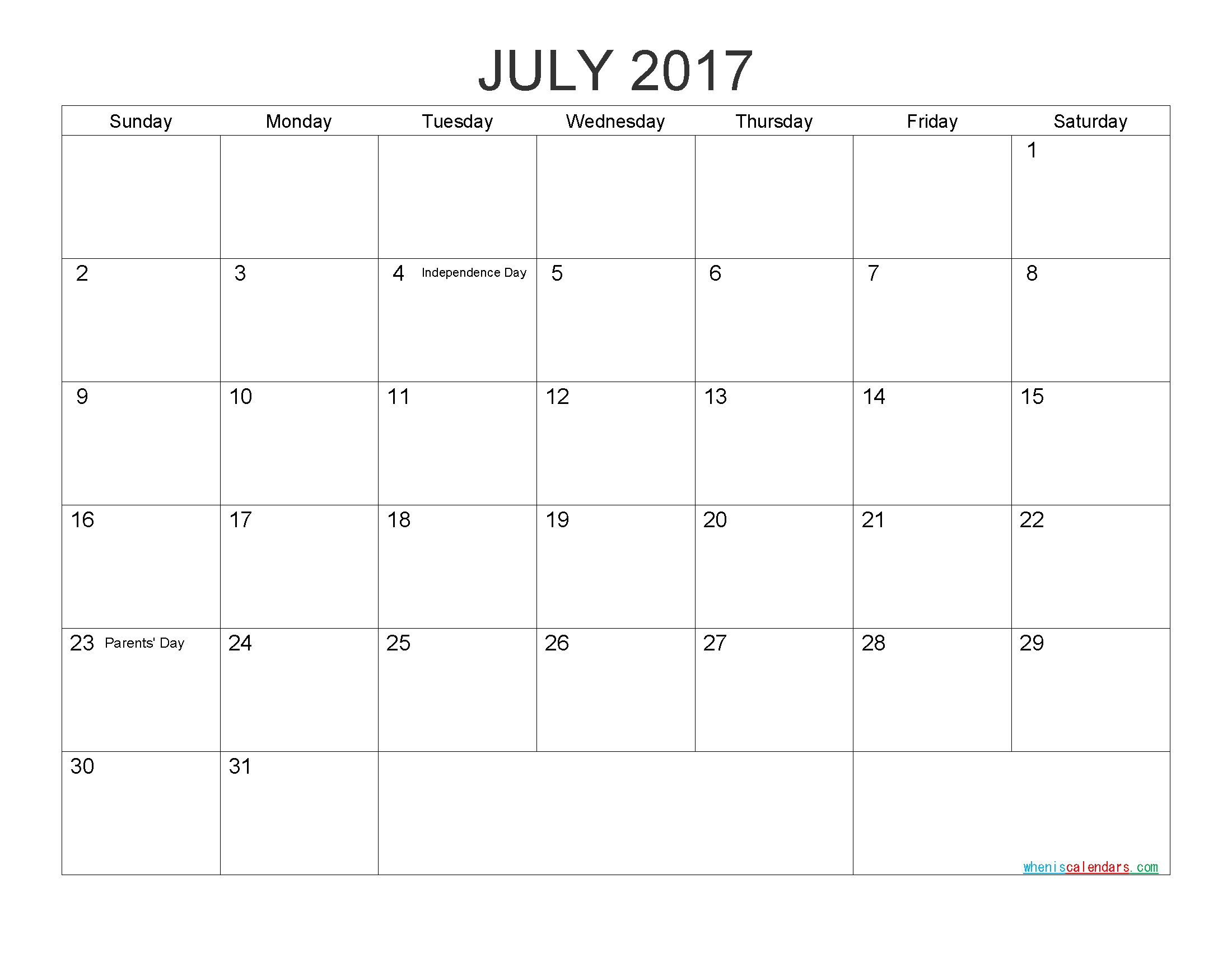 Download Free Calendar July 2017 Printable Calendar with Holidays as PDF and Image