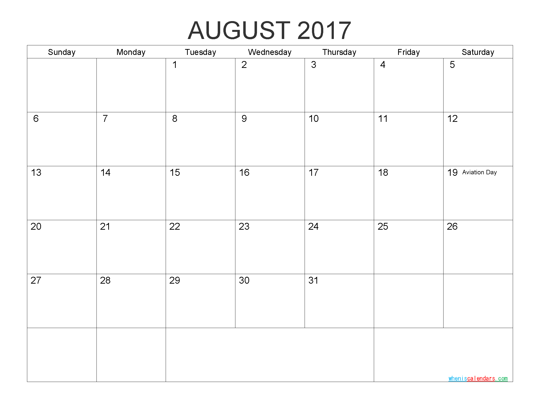 Download Free Calendar August 2017 Printable Calendar with Holidays as PDF and Image
