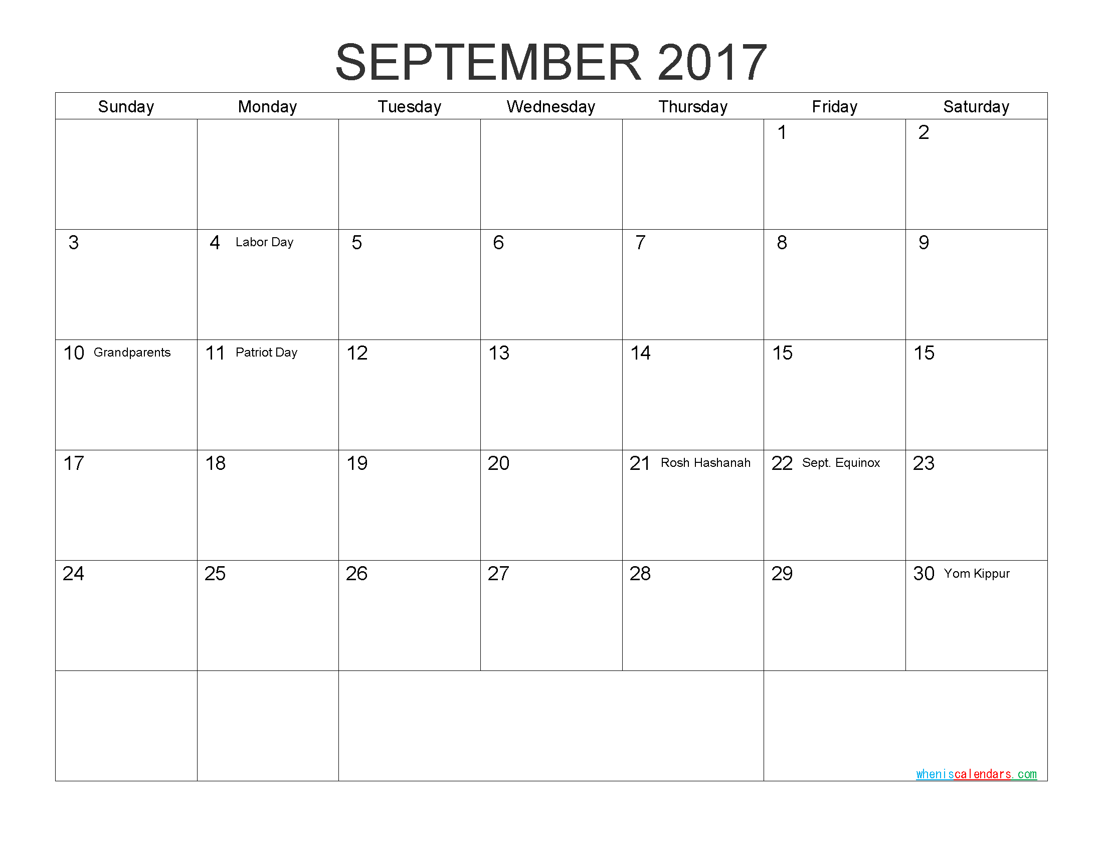 Download Free Calendar September 2017 Printable Calendar with Holidays as PDF and Image