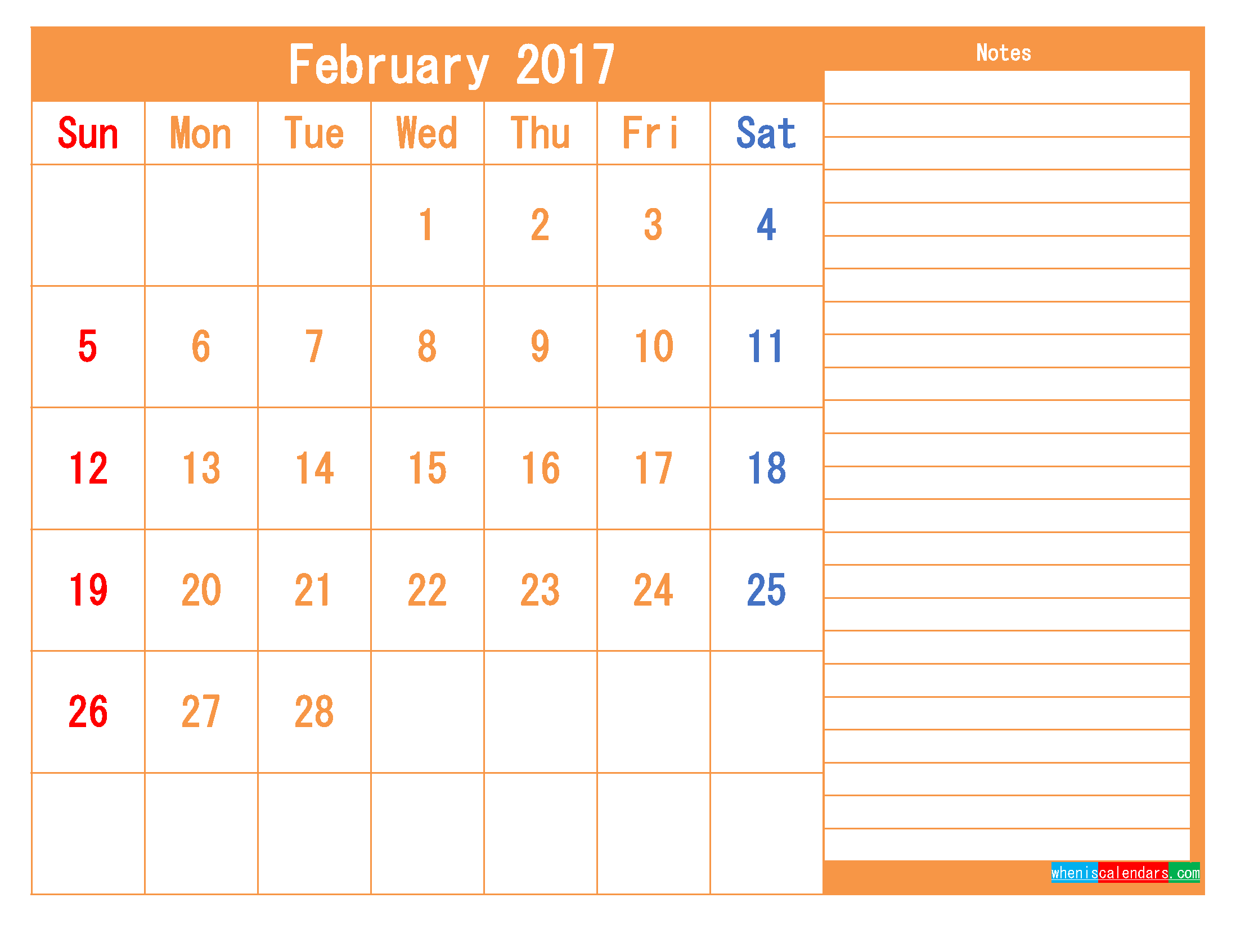 Free Printable Calendar 2017 February PDF and Image
