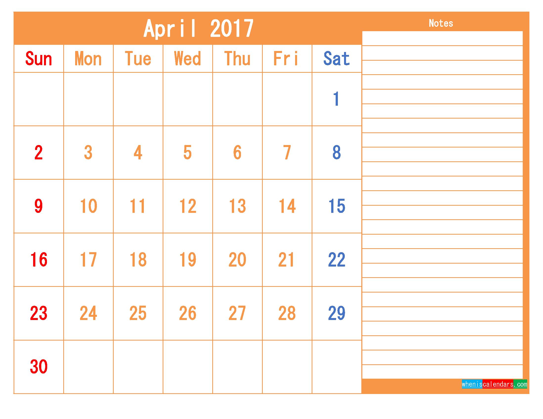 Free Printable Calendar 2017 April PDF and Image