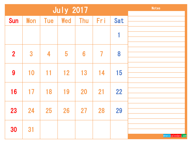 Free Printable Calendar 2017 July PDF and Image