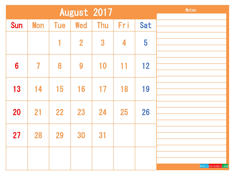 Free Printable Calendar 2017 August PDF and Image