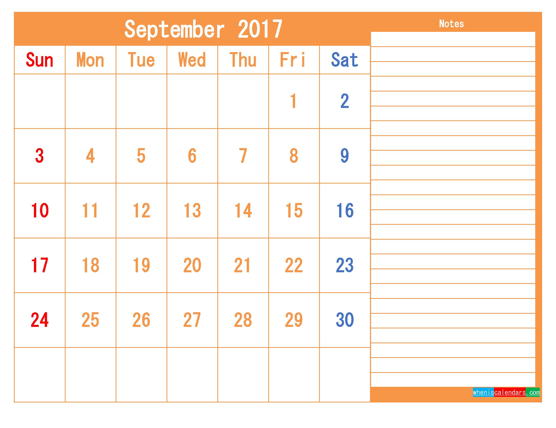 Free Printable Calendar 2017 September PDF and Image
