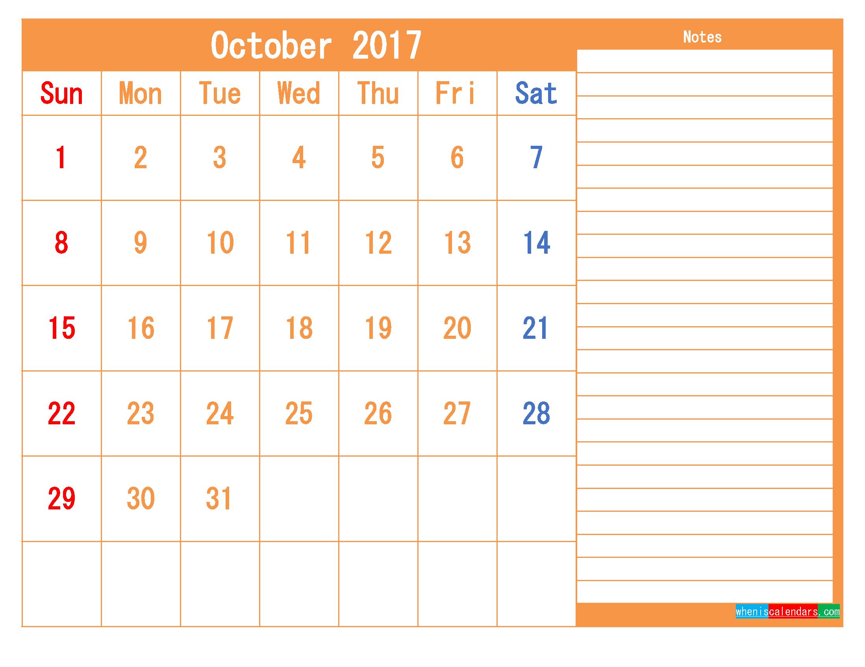Free Printable Calendar 2017 October PDF and Image