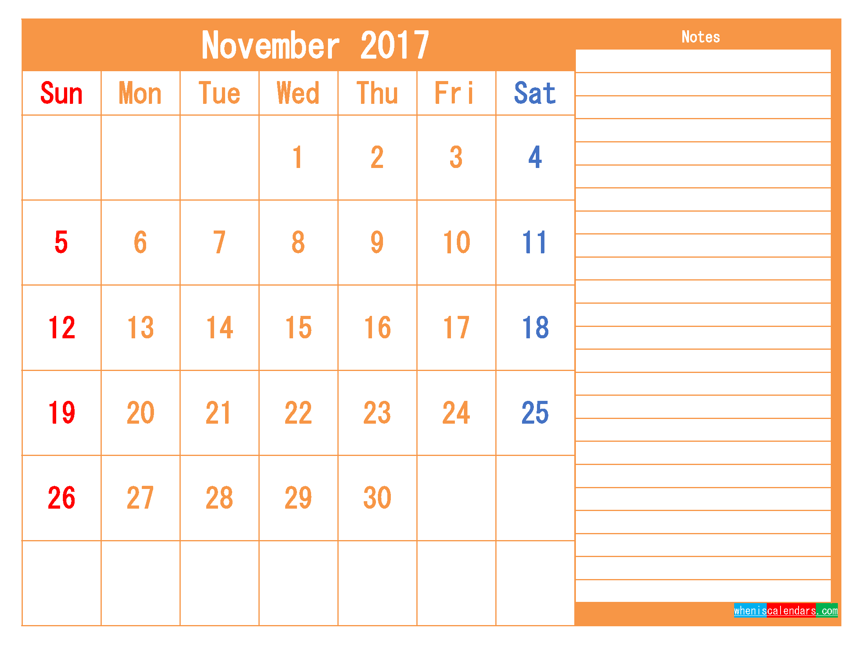 Free Printable Calendar 2017 November PDF and Image