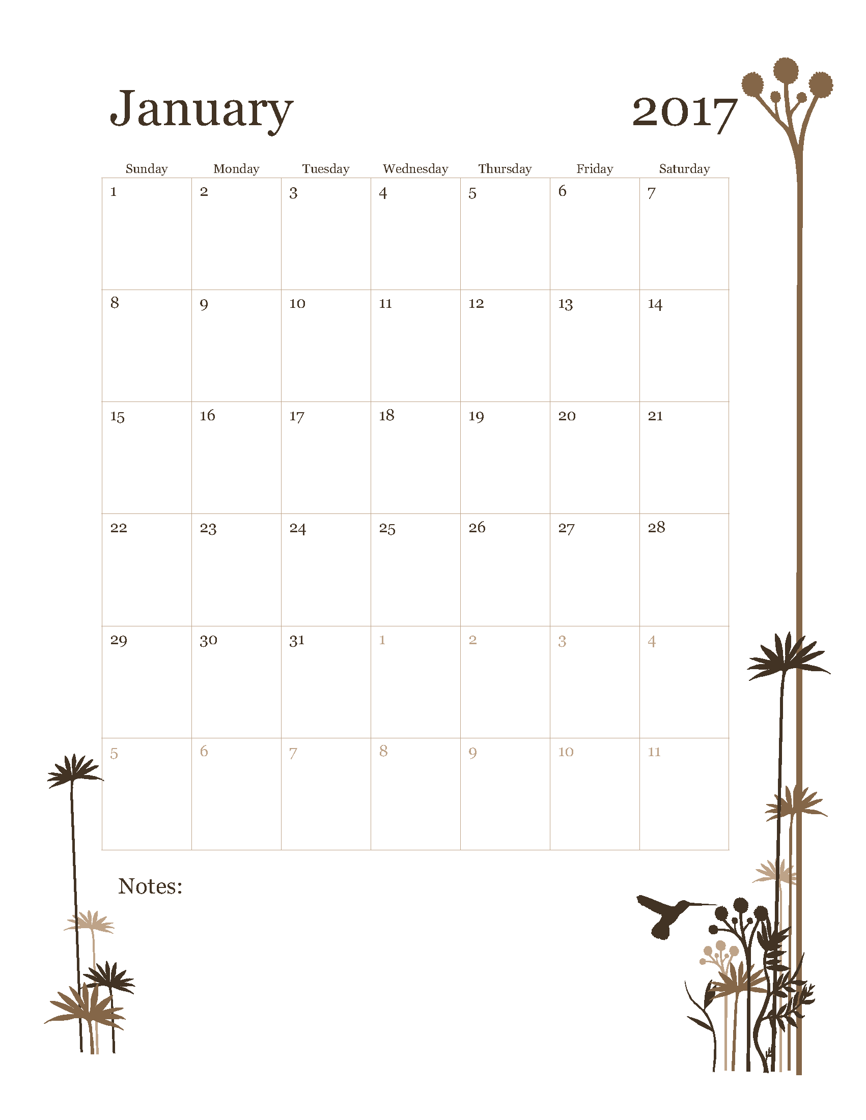 Free January 2017 Calendar Template Printable Start on Sunday - HummingBird design