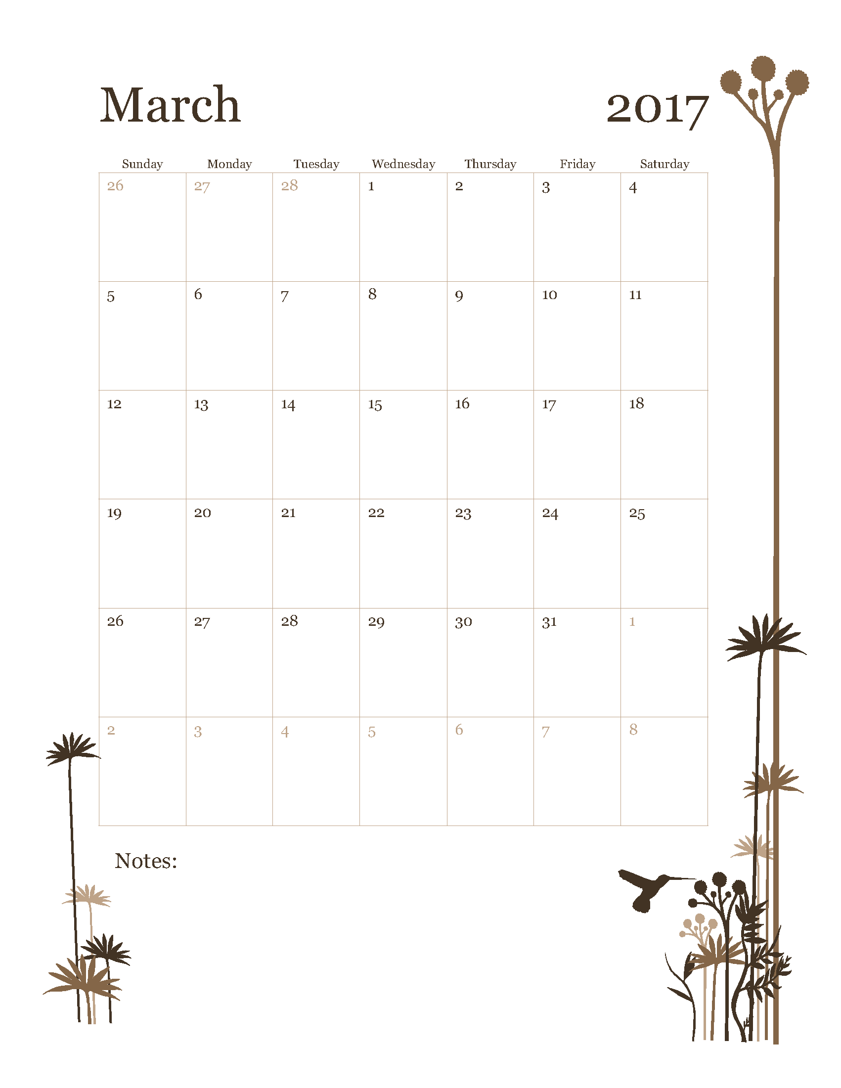 Free March 2017 Calendar Template Printable Start on Sunday - HummingBird design