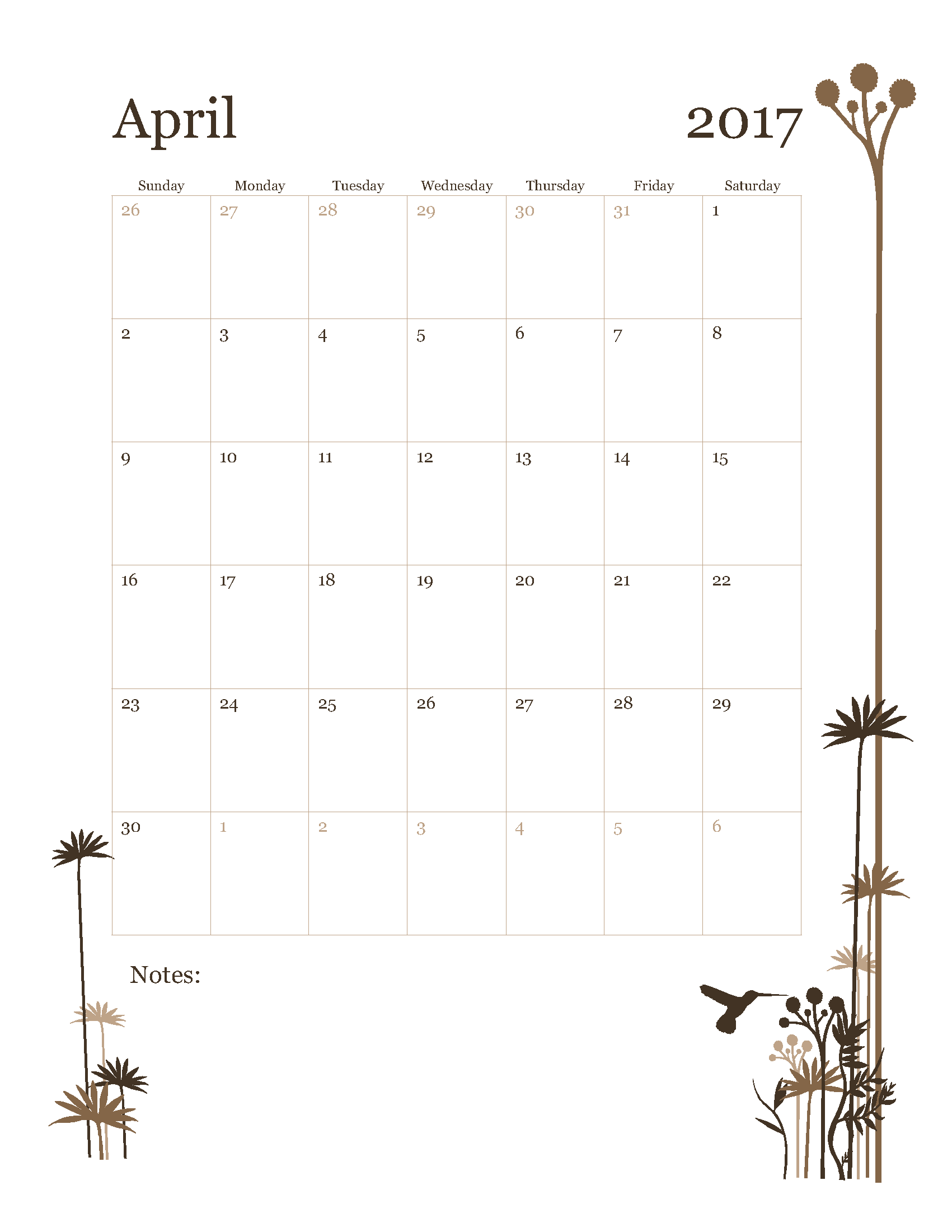 Free April 2017 Calendar Template Printable Start on Sunday - HummingBird design