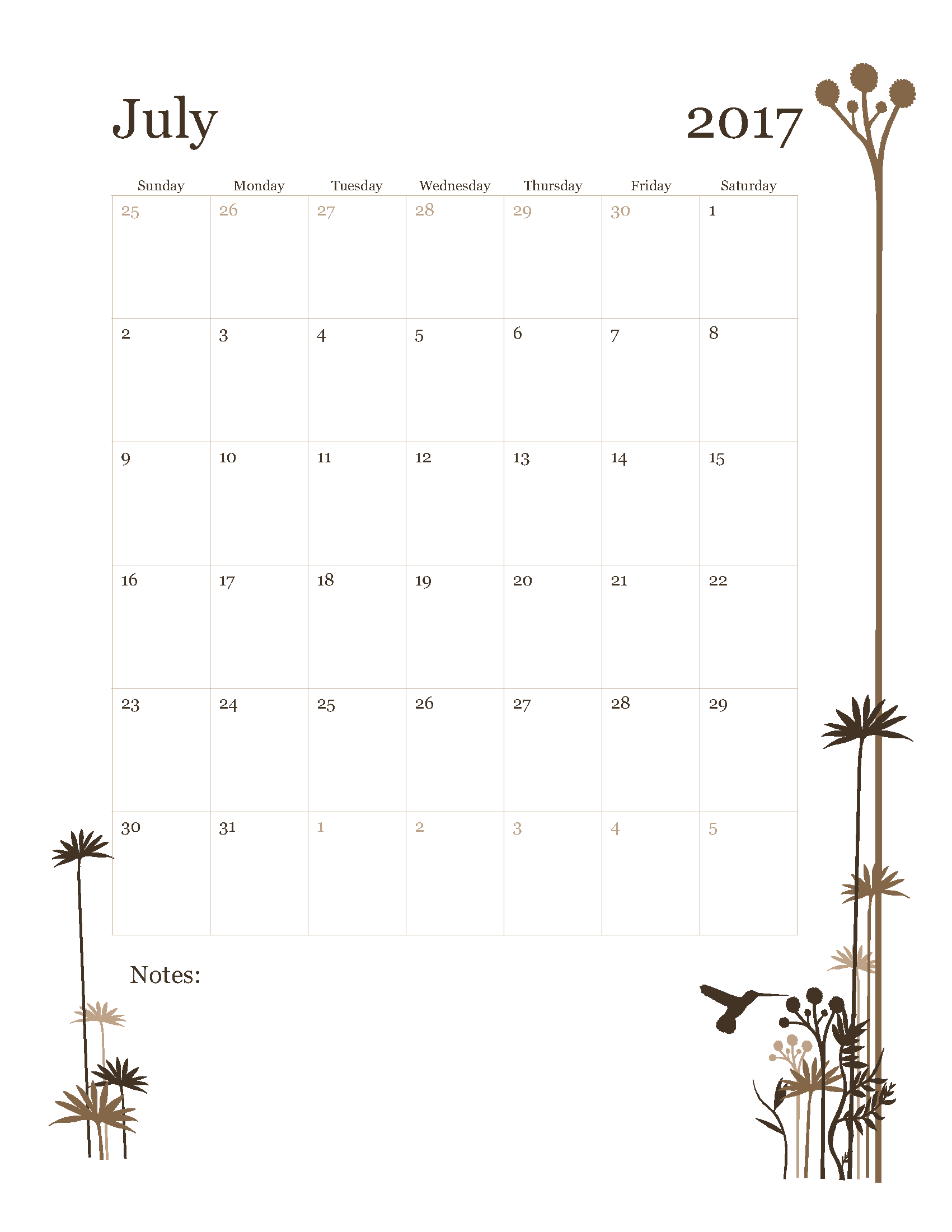 Free July 2017 Calendar Template Printable Start on Sunday - HummingBird design