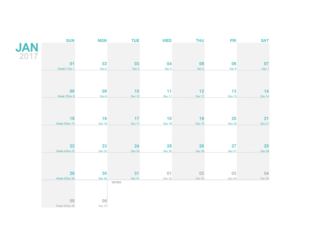 Download free January 2017 Calendar Template Printable Image, PDF. Free 2017 Monthly Calendar Template