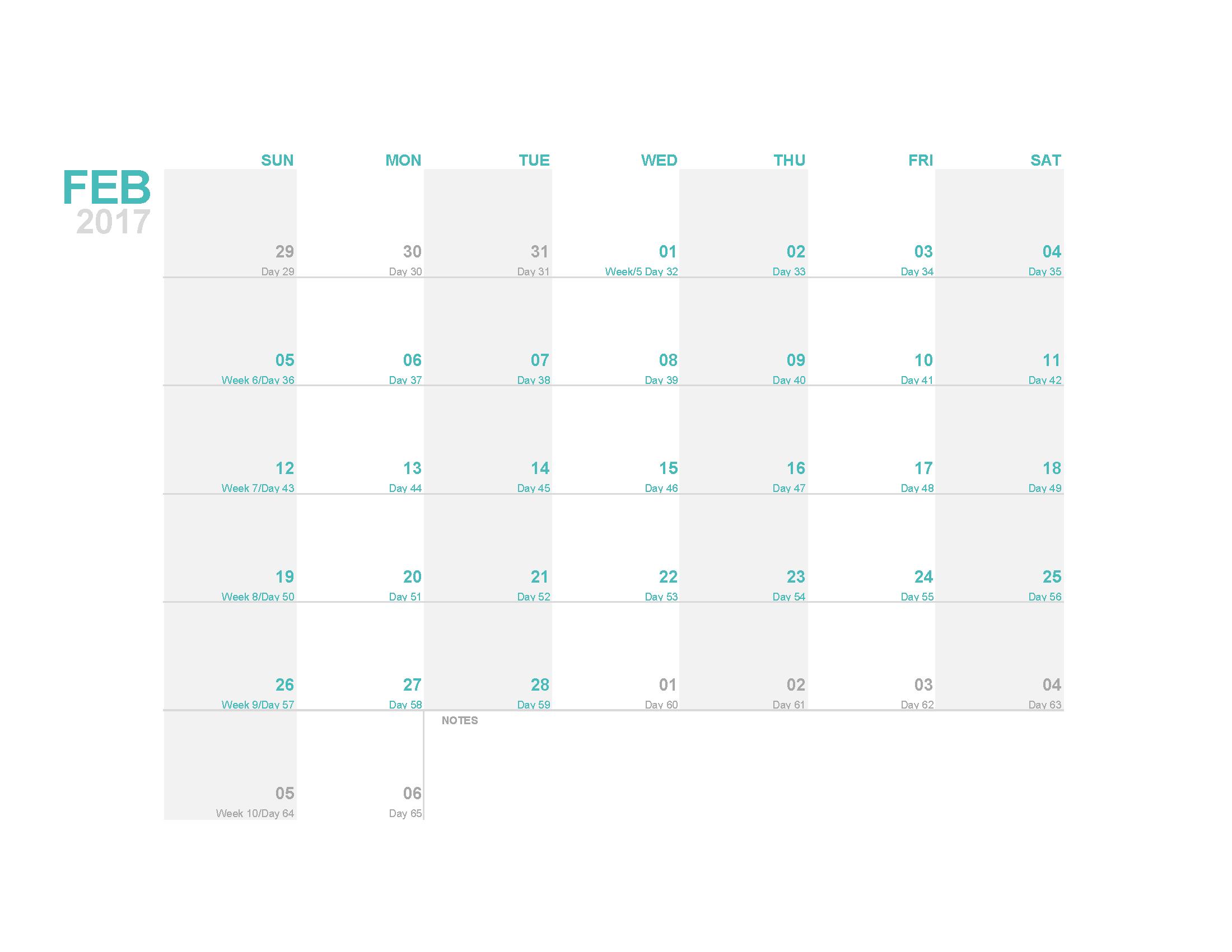 february 2017 calendar template printable image pdf