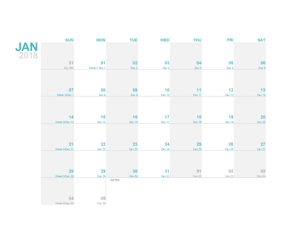 Free 2018 Calendar Printable Monthly Calendar Templates as PDF and Image