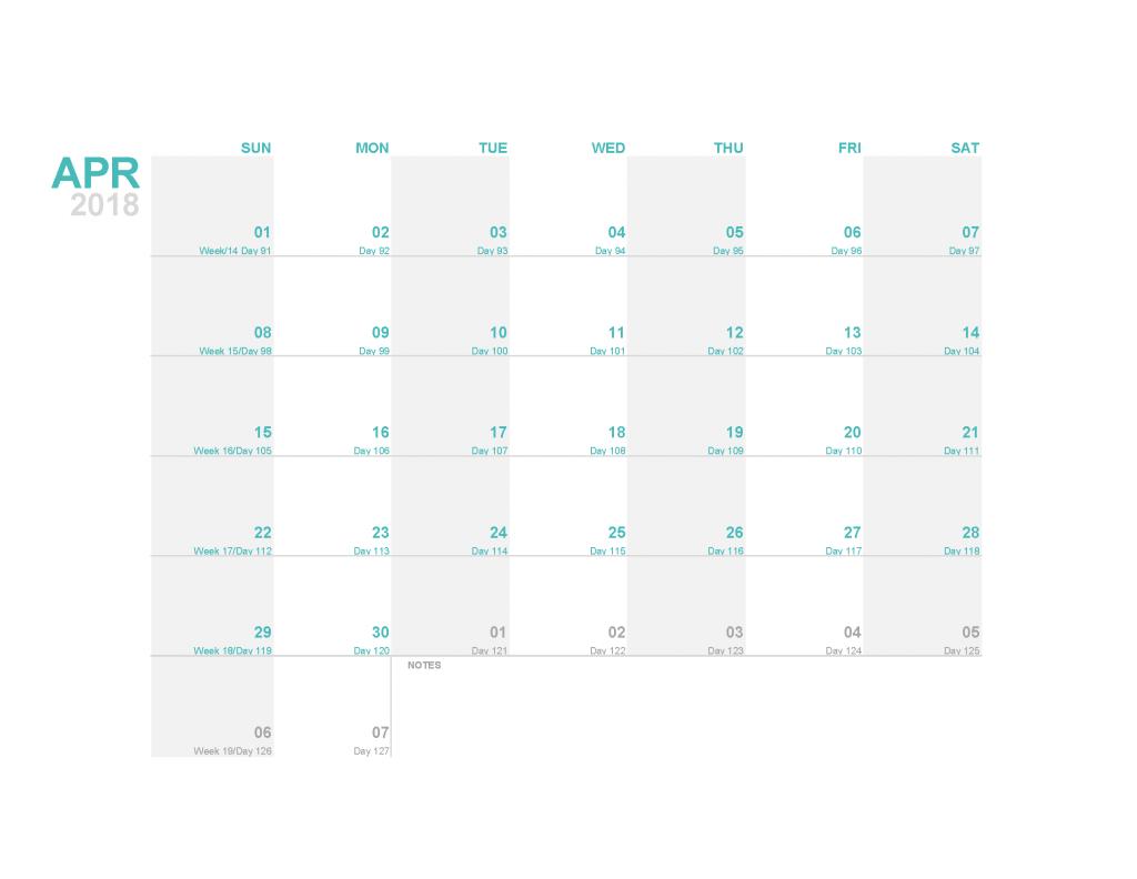 Printable Calendar 2018 April Monthly Calendar Template PDF
