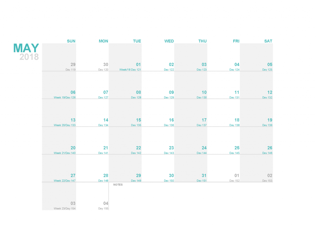Printable Calendar 2018 May Monthly Calendar Template PDF