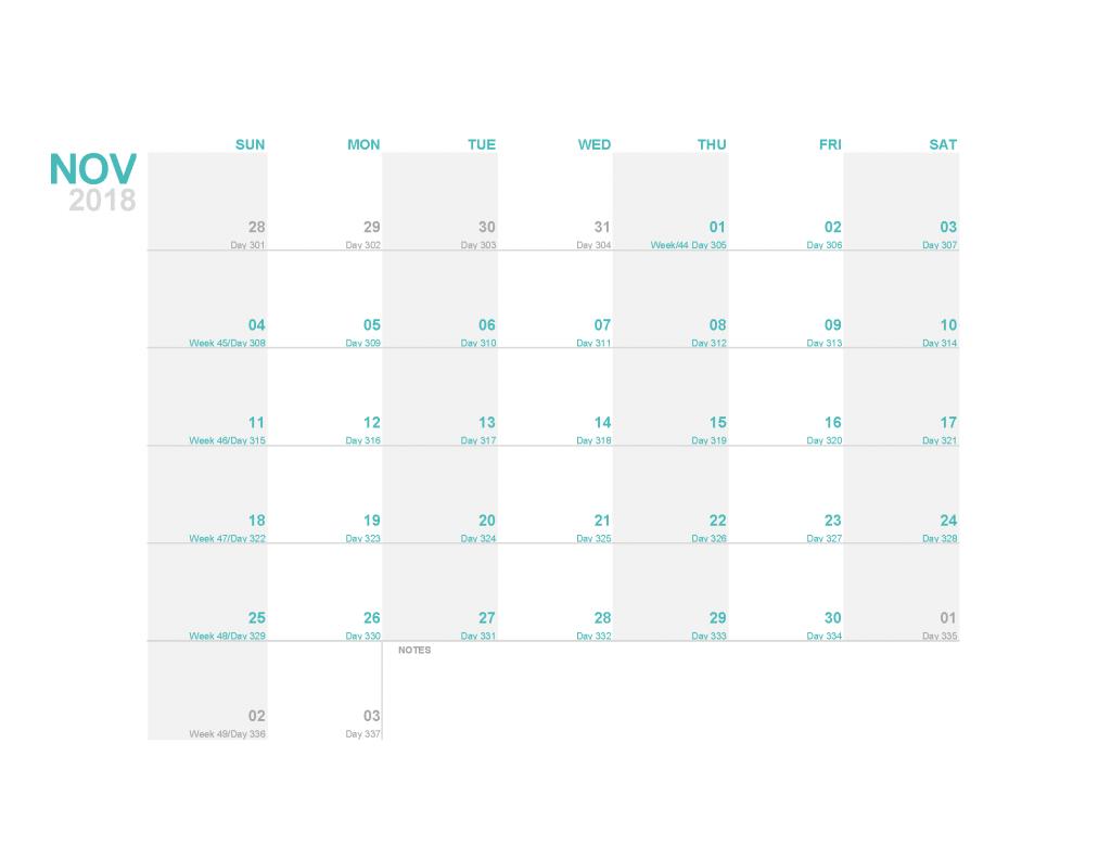 Printable Calendar 2018 November Monthly Calendar Template PDF