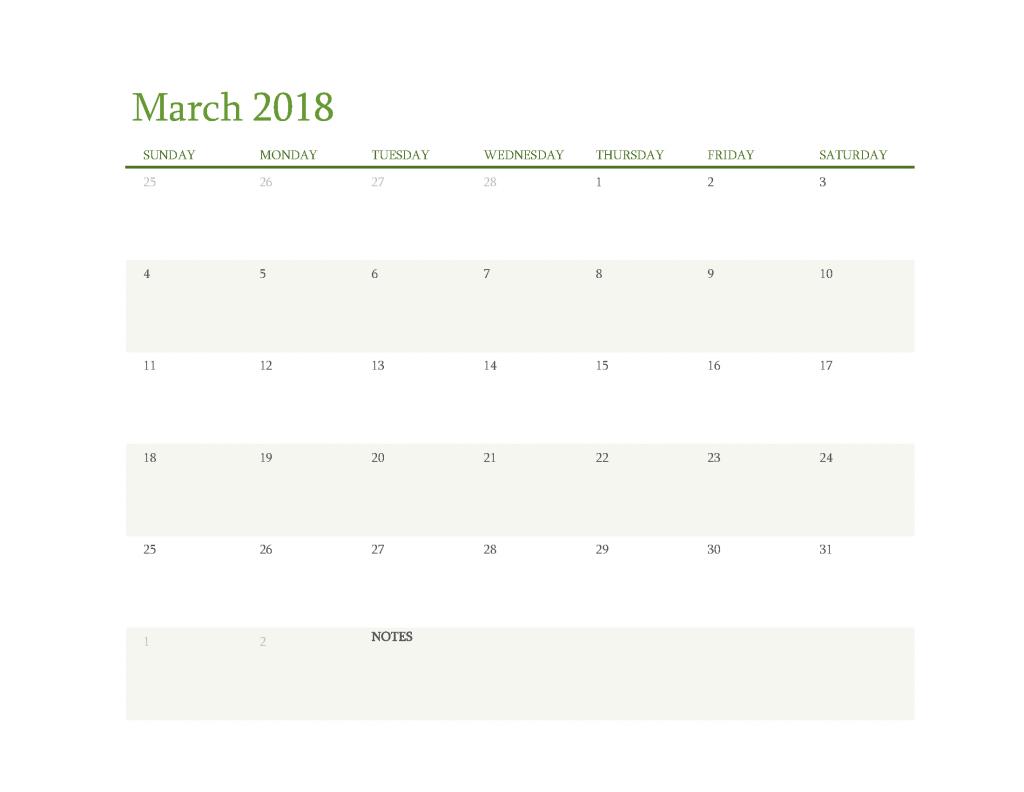 Free Calendar 2018 March Printable PDF, Image Start Sunday