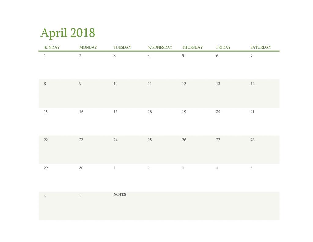Free Calendar 2018 April Printable PDF, Image Start Sunday