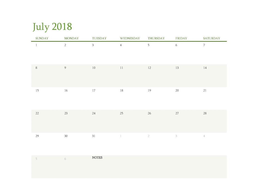 Free Calendar 2018 July Printable PDF, Image Start Sunday