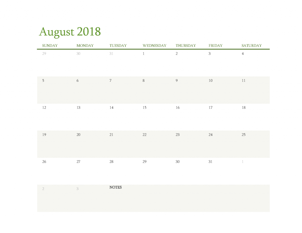 Free Calendar 2018 August Printable PDF, Image Start Sunday