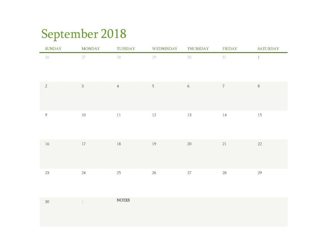 Free Calendar 2018 September Printable PDF, Image Start Sunday