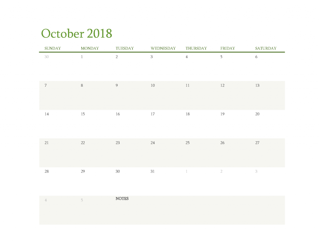 Free Calendar 2018 October Printable PDF, Image Start Sunday