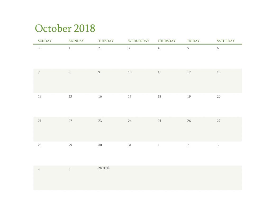 Free Calendar 2018 October Printable PDF, Image Start Sunday