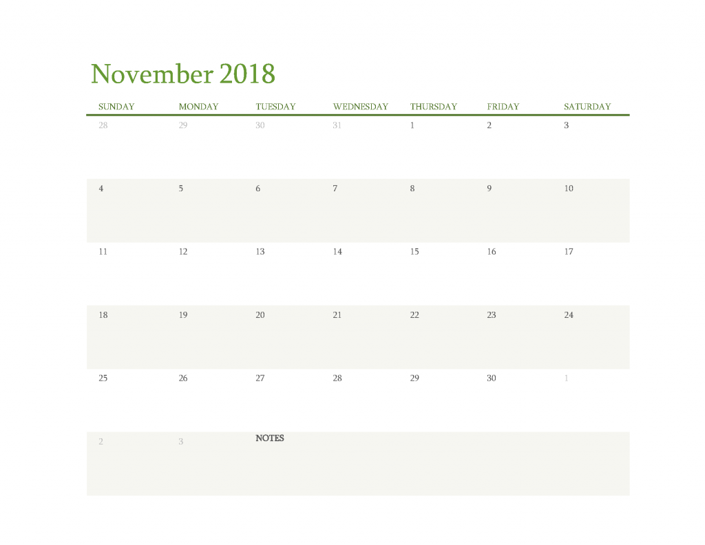 Free Calendar 2018 November Printable PDF, Image Start Sunday