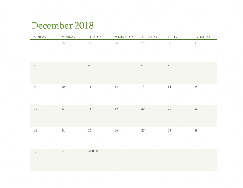 Free Calendar 2018 December Printable PDF, Image Start Sunday