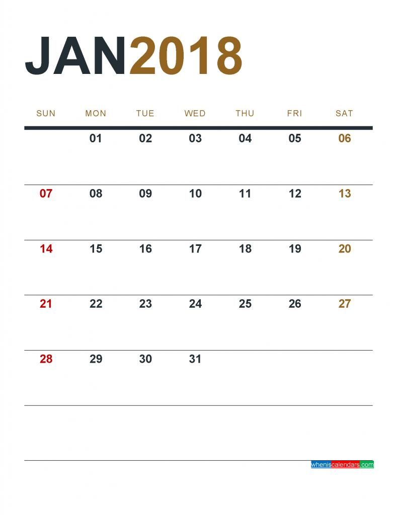 print calendar jan 2018