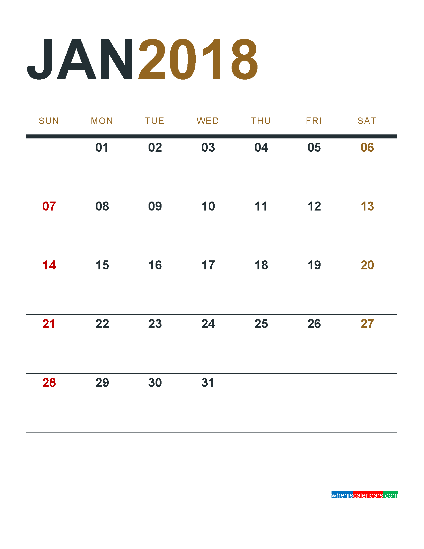 January 2018 Calendar Printable as PDF and Image 1 Month 1 Page