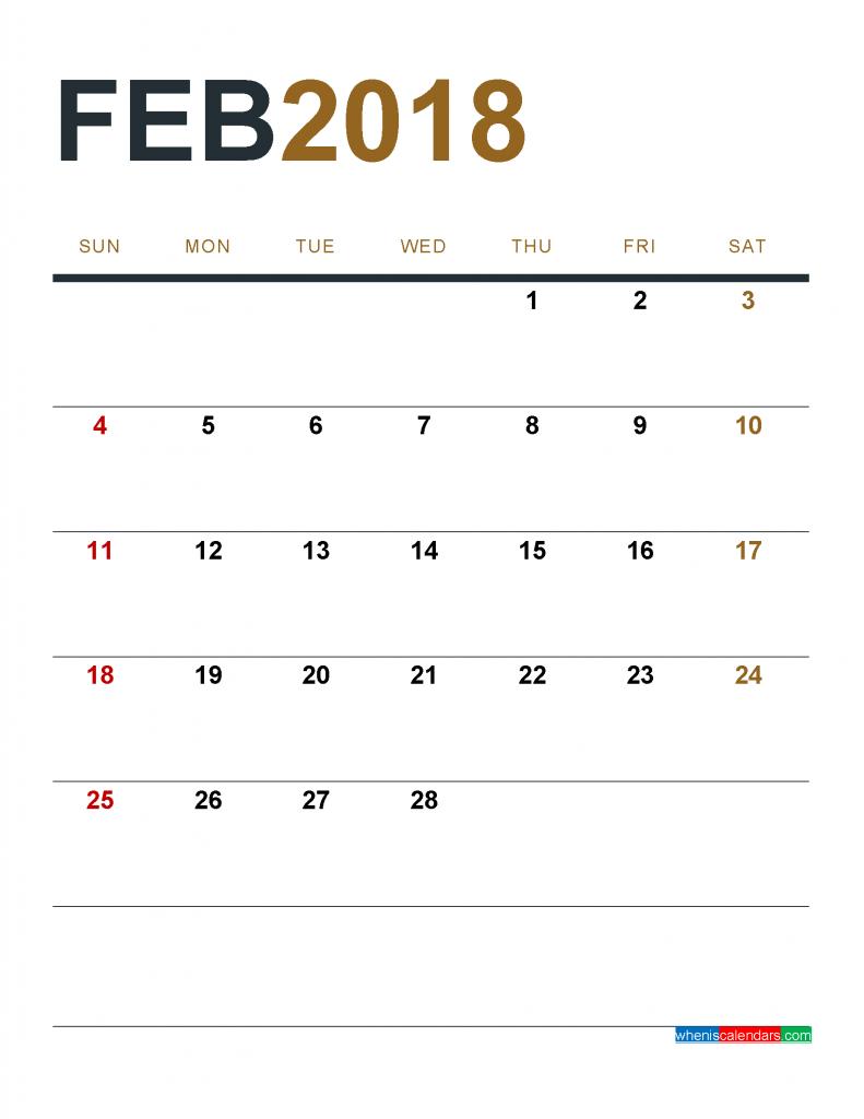 february calendar page 2018