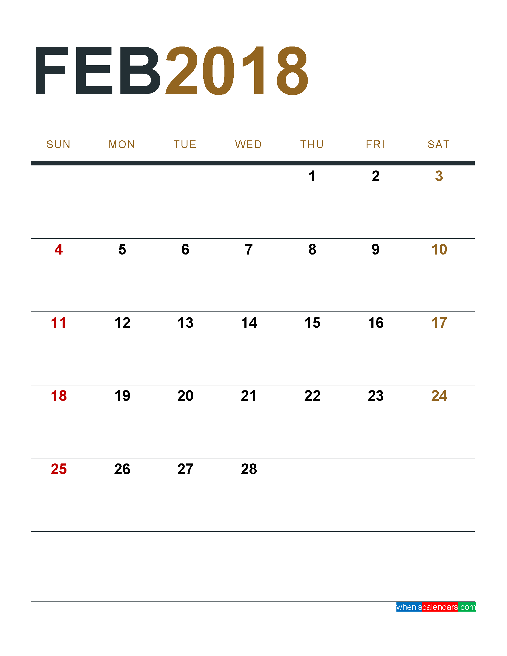 February 2018 Calendar Printable as PDF and Image 1 Month 1 Page