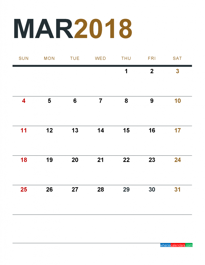 March 2018 Calendar Printable as PDF and Image 1 Month 1 Page