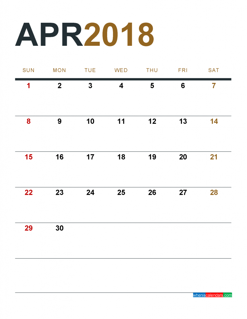 April 2018 Calendar Printable as PDF and Image 1 Month 1 Page
