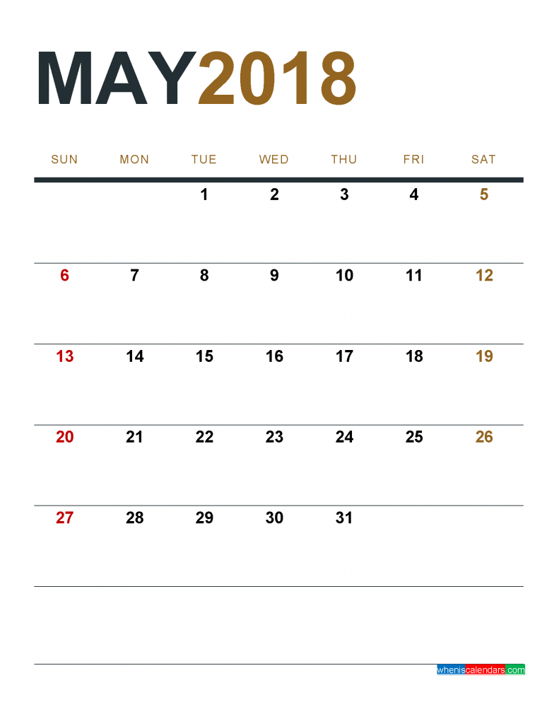 May 2018 Calendar Printable as PDF and Image 1 Month 1 Page