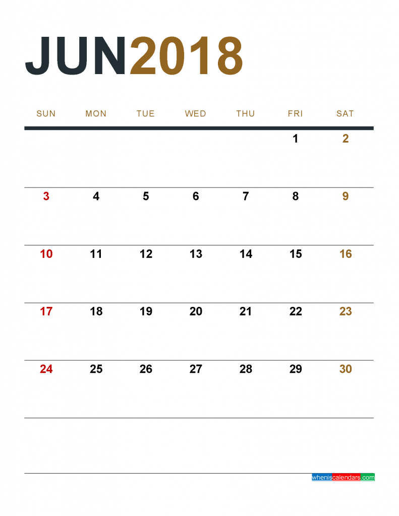 June 2018 Calendar Printable as PDF and Image 1 Month 1 Page